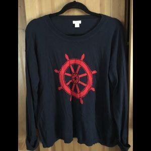 JCrew XL navy cotton sweater